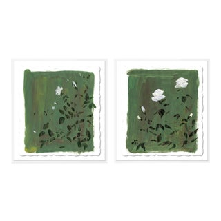 Olive Botanical Diptych by Lia Burke Libaire in White Frame, Small Art Print For Sale