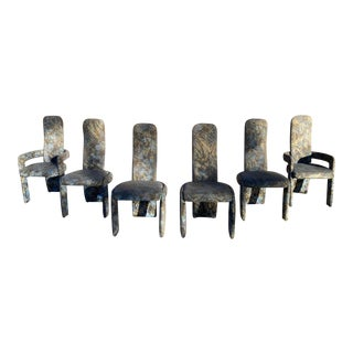 Set of Six Postmodern Sculptural Saporiti Style Dining Chairs For Sale