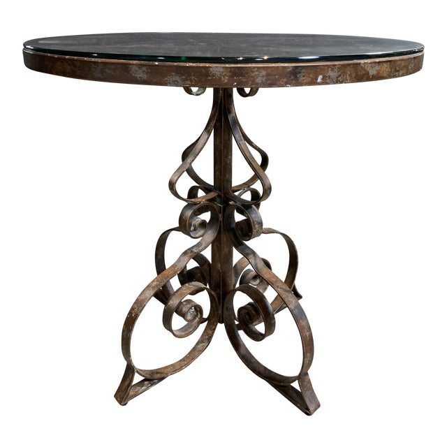 Black Iron Bistro Table with Glass Top For Sale