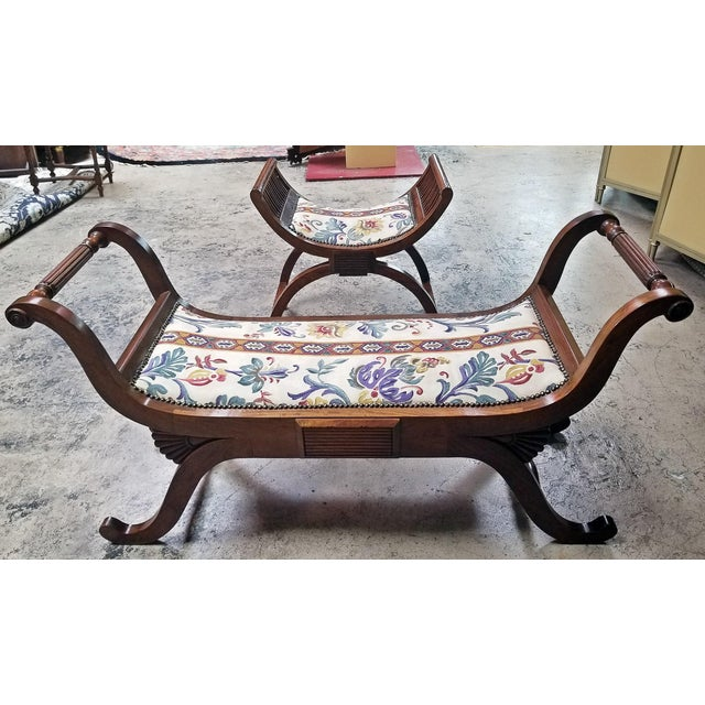 Empire Style Bedroom Scroll End Bench Seats- A Pair For Sale - Image 4 of 13