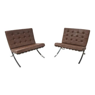 Mies Van Der Rohe for Knoll Early Barcelona Lounge Chairs - a Pair For Sale