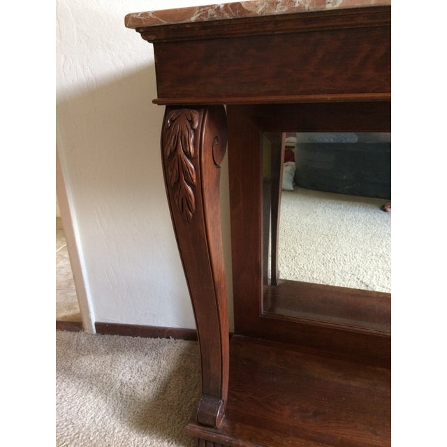 Ethan Allen Marble Top & Mirrored Console Table - Image 3 of 7
