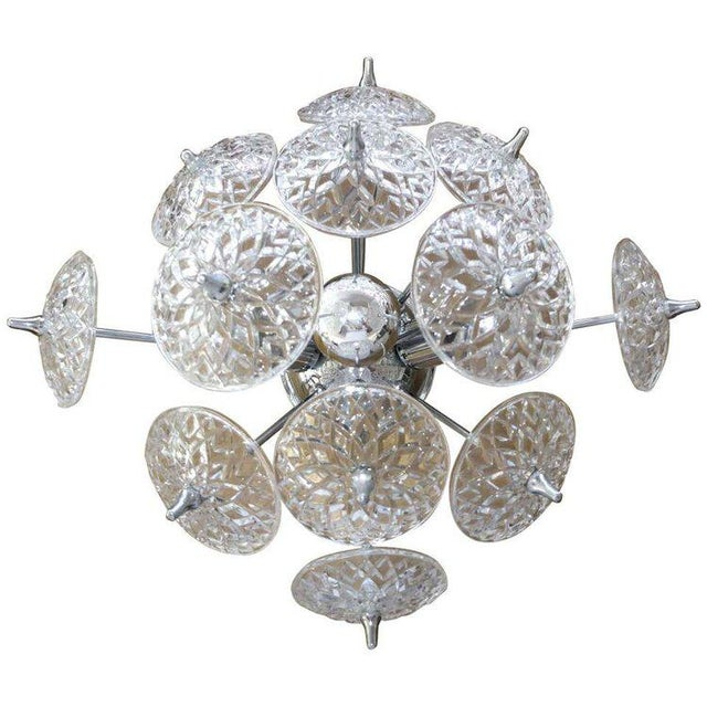 Val Saint-Lambert Val Saint Lambert Crystal and Chrome Sputnik Wall or Flush Mount For Sale - Image 4 of 5