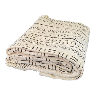 Lg Malian Black & White Mud Cloth Textile For Sale