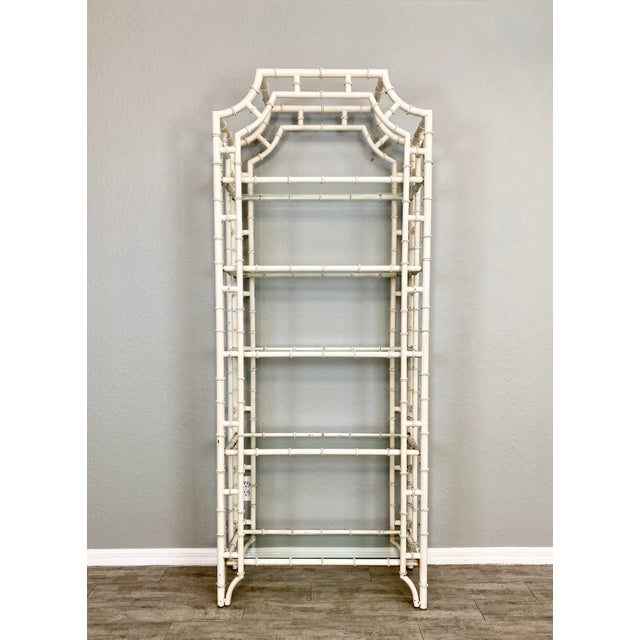Vintage Chippendale Faux Bamboo Iron Etagere For Sale In Naples, FL - Image 6 of 6
