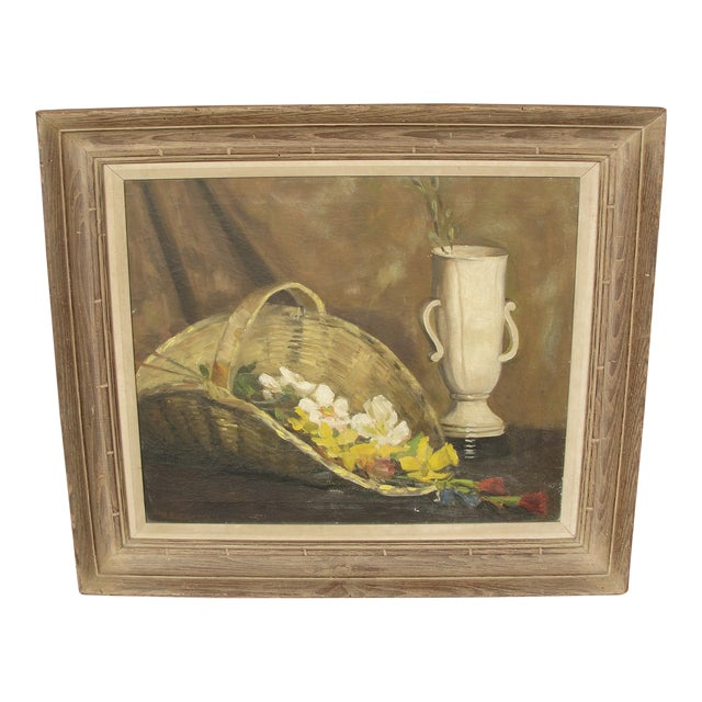 Mid-Century Modern Oil on Canvas Still Life For Sale