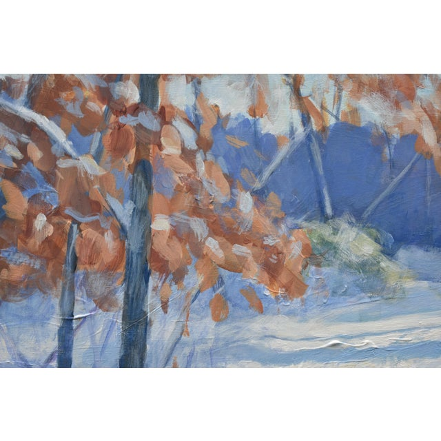 """Stephen Remick """"Snowy Path by the Beech Tree"""" Contemporary Acrylic Painting by Stephen Remick, Framed For Sale - Image 4 of 11"""