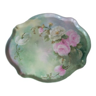 Green Floral Limoges Vanity Tray For Sale