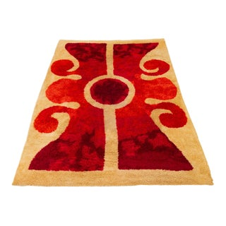 1960s Scandinavian Modern Op Art Shag Area Rug - 8′1″ × 11′5″ For Sale