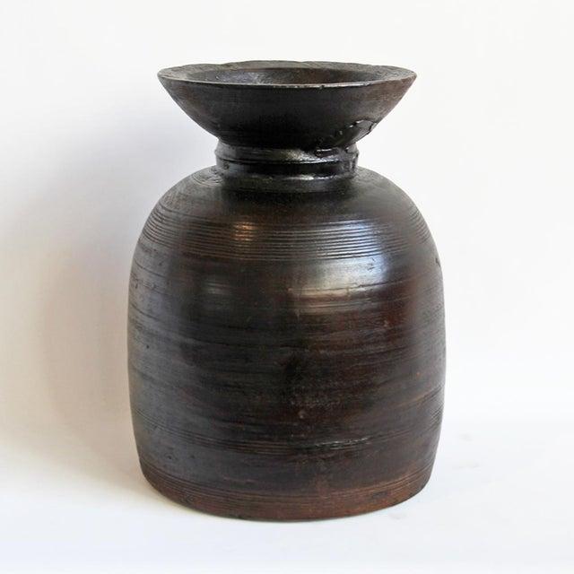 Nepal Dark Brown Wood Pot - Image 2 of 3