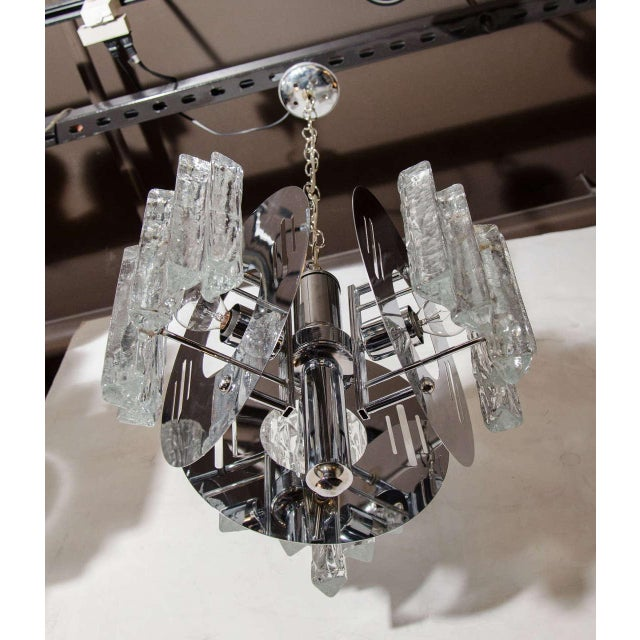 Salviati Mid-Century Modern Sculptural Ice Glass Chandelier by Salviati For Sale - Image 4 of 8