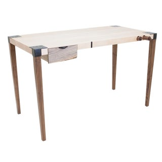 Walnut Maple and Steel Writer's Desk For Sale
