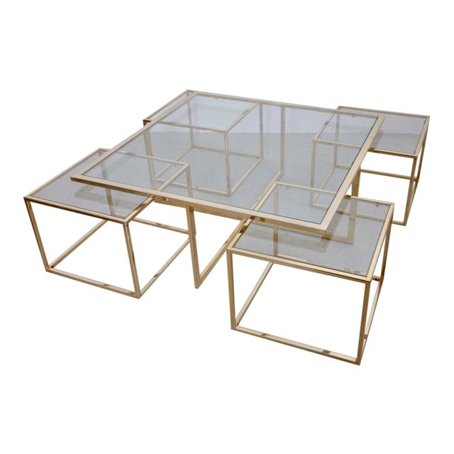 Huge Coffee Table in Brass with Four Nesting Tables by Maison Charles For Sale