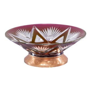 Belgian Red Cut Crystal Rose Bowl on Copper Base For Sale
