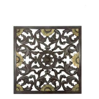 Dark Brown Asian Carved Wood Distressed Wall Panel With Gold Flowers For Sale