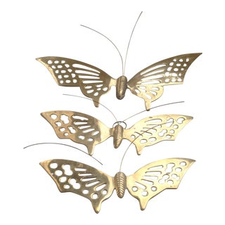 Vintage Brass Butterfly Wall Art - Set of 3 For Sale