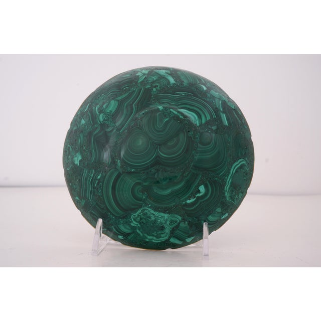 Vintage Round Malachite Dish With Scalloped Brass Rim from a Palm Beach estate We have several of these available as well...