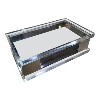 Mid-Century Modernist Italian Plexiglass and Silver Metal Box For Sale