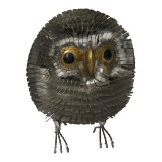1960s Brutalist Owl Metal Figurine For Sale