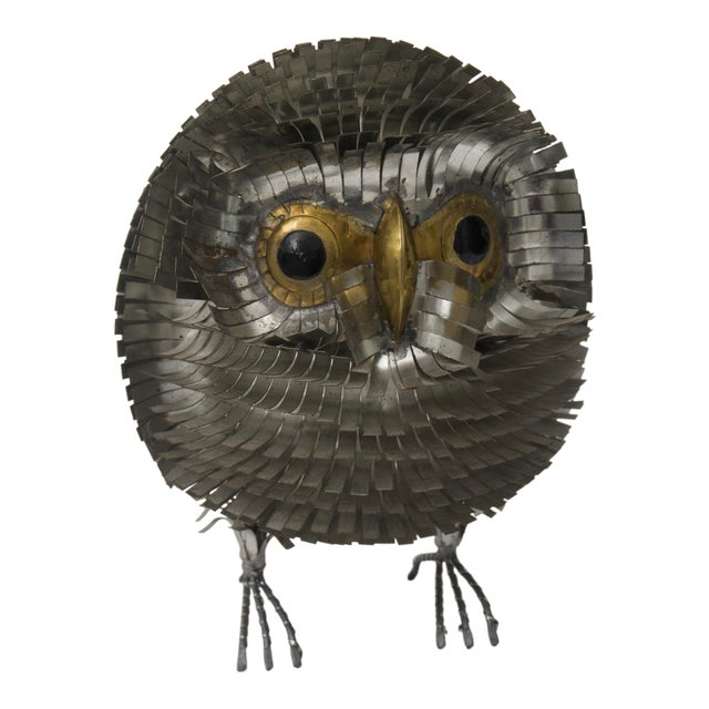 1960s Brutalist Owl Metal Figurine For Sale