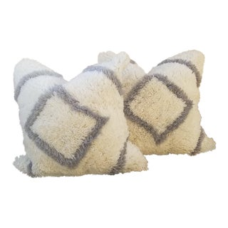 Pair Fluffy Moroccan Wedding Quilt Pillows For Sale