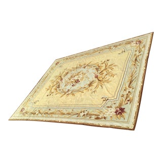 Henri Samuel Style French Aubusson Needlepoint Floor Covering For Sale