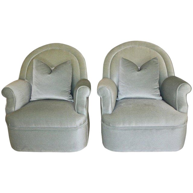 Pair of Custom Mohair Seafoam Green Lounge Club Chairs For Sale