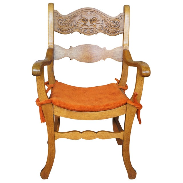 Late 19th Century Antique Victorian Renaissance Revival Oak Curule Seat Chairs- Set of 5 For Sale - Image 10 of 13