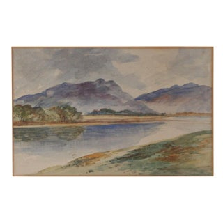 Vintage European Watercolor Landscape For Sale