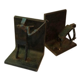 "Mid Century Modern Brutalist Iron ""Men With Hammer"" Sculptural Bookends For Sale"