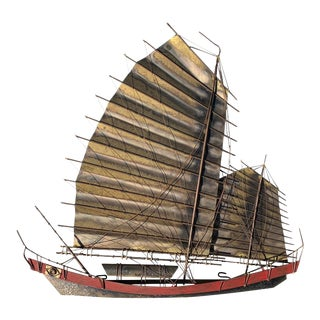 1960s Brutalist Style Chinese Junk Wall Sculpture For Sale