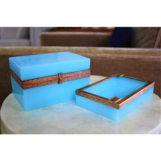 Early 20th Century French Tiffany Blue Opaline Glass Box and Ashtray Set For Sale - Image 10 of 13