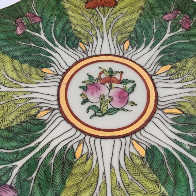Asian Mid-Century Porcelain Bok Choy Leaf & Butterfly Decorative Scalloped Plate For Sale - Image 3 of 11