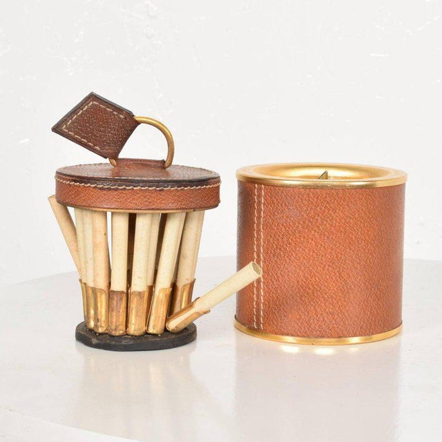 1950s Vintage Hermès Style Leather and Brass Cigarette Holder, Italy, 1950s For Sale - Image 5 of 6
