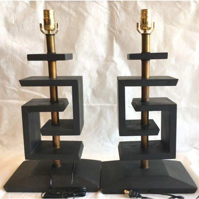 Mid-Century Modern James Mont Geometric Lamps & Shades - a Pair For Sale - Image 3 of 13