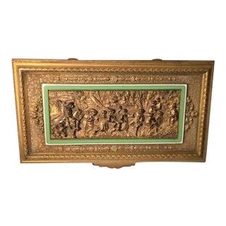 Antique French Bronze & Enamel Frieze Jewelry Box For Sale