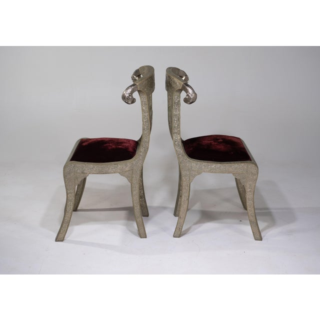 1970s Glam Pair of Anglo Indian Regency Style Rams Head Side Chairs For Sale - Image 5 of 13