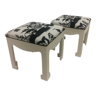 1970s Vintage Hollywood Regency Ottomans- A Pair For Sale