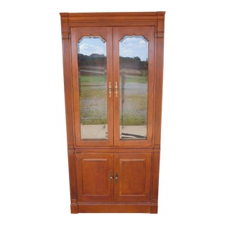 "Stickley Cherry 4 Door Bookcase Lighted Display Wall Cabinet Model 4740 ""A"" For Sale"