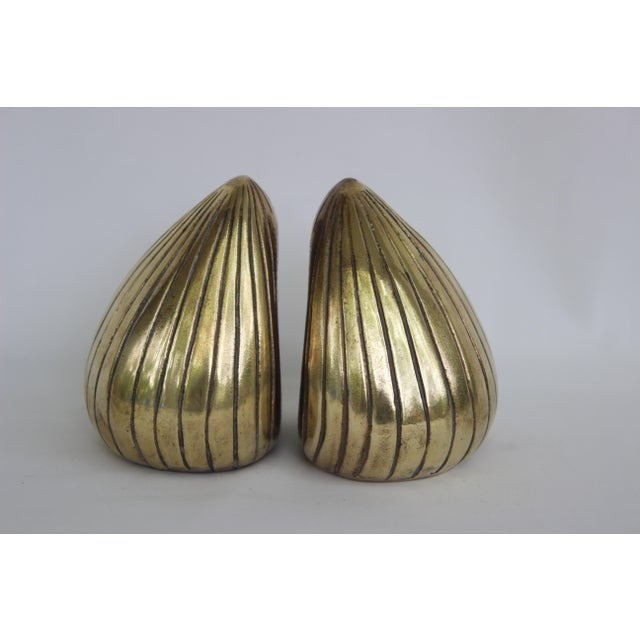 Metal 1950s Vintage Ben Seibel Jenfred-Ware Brass Clam Bookends - A Pair For Sale - Image 7 of 8
