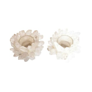 Natural Quartz Crystal Votive Holders - A Pair For Sale