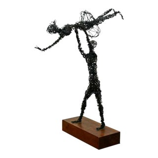 Mid Century Modern Abstracted Metal Wire Table Sculpture Wood Base Dancers 1960s For Sale