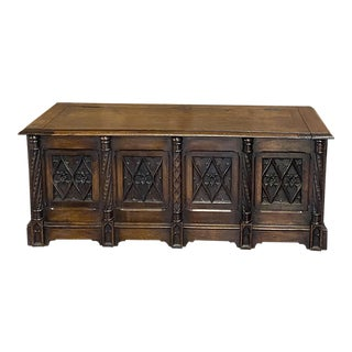 19th Century French Walnut Gothic Trunk For Sale