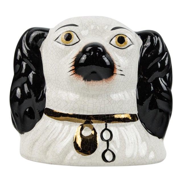 19th Century English Traditional Staffordshire Ceramic Dog Head Money Bank For Sale