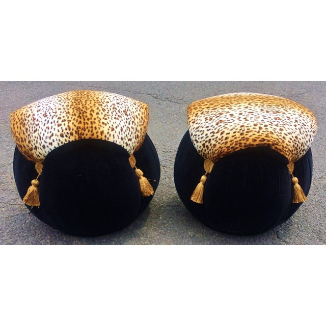 Textile Late 20th Century Vintage Leopard Pattern Upholstered Ottomans- A Pair For Sale - Image 7 of 8