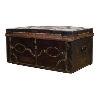 English Studded Leather and Oak Document Chest C.1910 For Sale