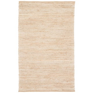 Jaipur Living Diagonal Weave Natural Solid Beige/ White Area Rug - 3′6″ × 5′6″ For Sale