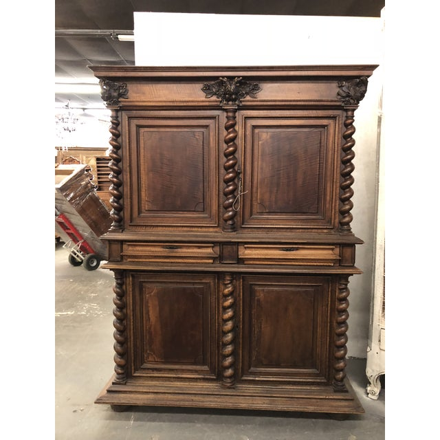 Wood Louis XIII Double Headed Eagle Buffet Deux Corps For Sale - Image 7 of 7