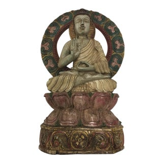Carved Wood Buddha Statue For Sale