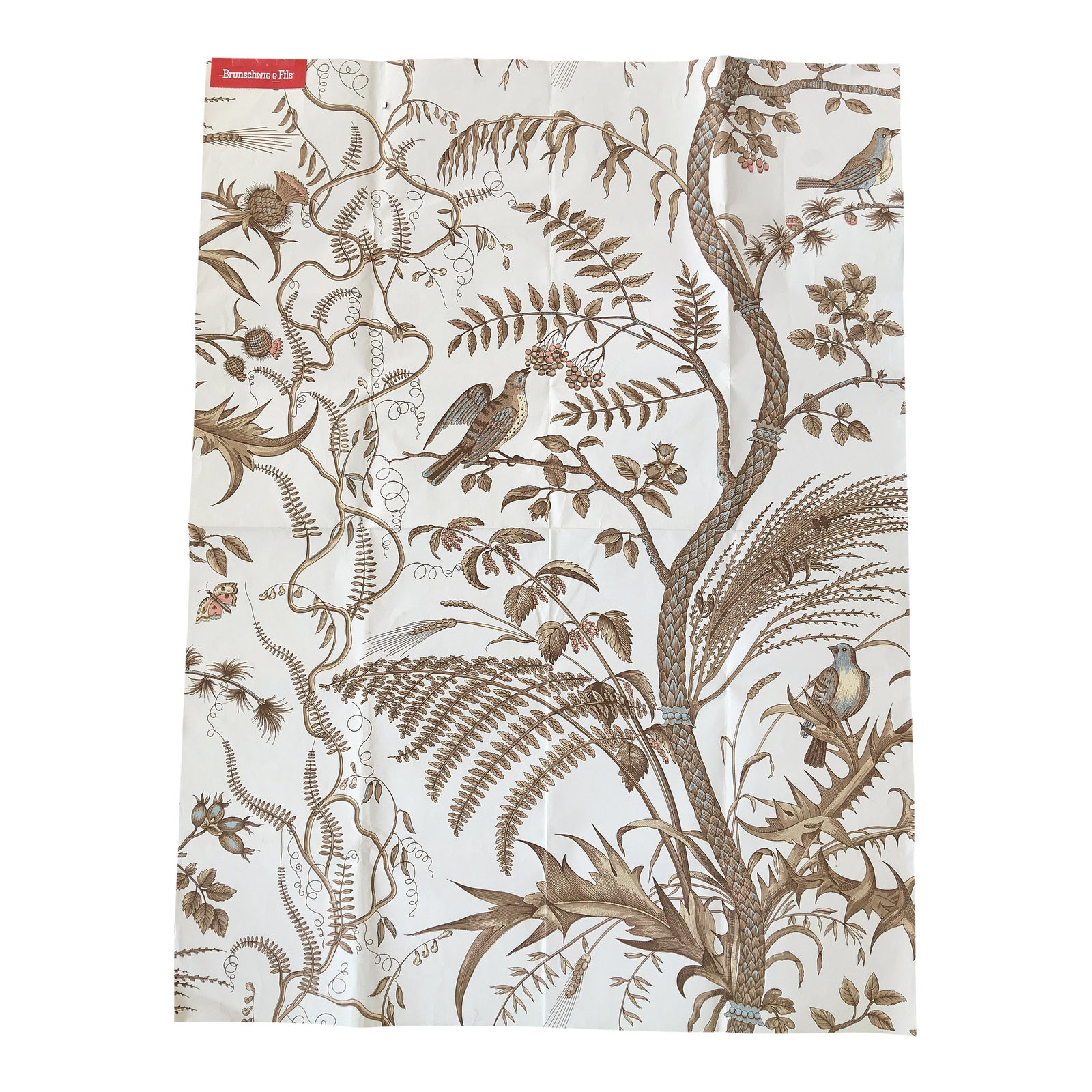 Brunschwig & Fils Iconic Bird And Thistle Pattern Wallpaper In